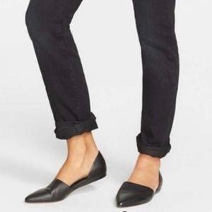 VINCE 'Nina' d'Orsay Black Leather Flat 7.5